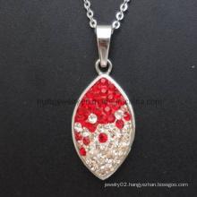 Garnet Fashion Charme Necklace Steel Pendant
