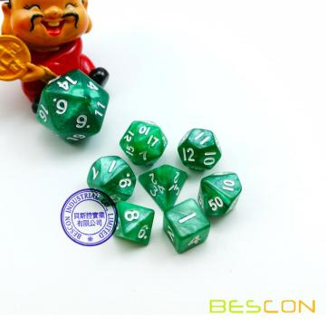 Green Marble Mini 10mm (3/8in) Dice Set of 7, Small Dice Set, Mini Polyhedral Dice Set