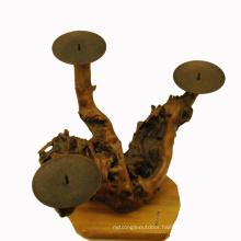 25PCS Antique Carved Irregular Handmade Wooden Candlestick