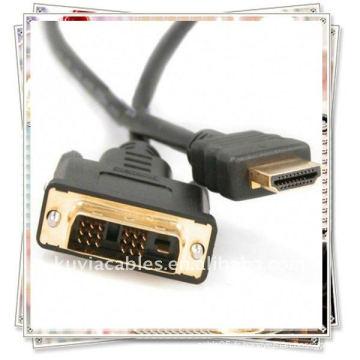 Haute qualité 1.8m 6FT DVI 24 + 1 à HDMI câble plaqué or pour HD 1080p PC LCD Câble d'ordinateur