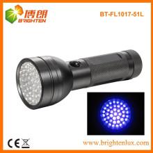 Prix d'usine 360nm à 400nm 51 LED Aluminium Ultraviolet Noir Lumière Lampe UV et torche UV portable