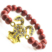 Rouge Jasper 8MM perles rondes Stretch Bracelet en pierre avec Diamante en alliage de lapin