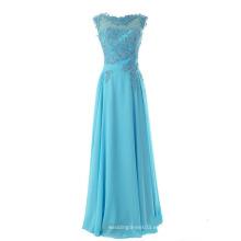 Moda Nueva gasa de encaje vestido de dama de honor piso longitud vestido de fiesta largo vestido de noche
