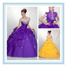 Shining Strapless vestido de fiesta tafetán amarillo Quinceanera vestido con chaqueta gratis (QUMO-1003)
