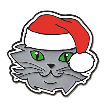 Kucing Natal & Santa Hat Enamel Lapel Pins