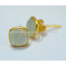 Natural Best Quality Gemstone Bezel Stud Earrings Wholesale Gemstone Stud Earring Jewelry Suppliers