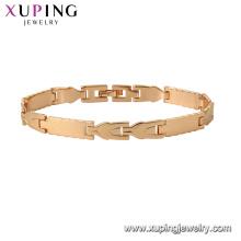 75129 Xuping moda pulsera oro mano cadena moda oro diseño pulsera del encanto para unisex