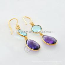Designer Gold Vermeil Semi Precious Silver Gemstone Earring For Very Special Day Christmas