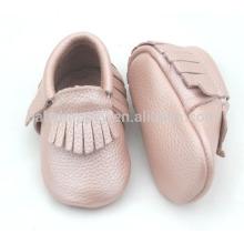 Mocassins infantile bon marché chaussures jolies filles roses chaussures en cuir véritable