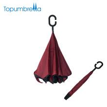 Excelente calidad a prueba de viento doble capa c mango plegable paraguas plegable