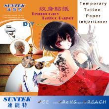 Etiqueta de tatuagem de transferência de água com recurso temporário para jato de tinta e laser