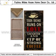 Decoração Home China Wholesale Coffee Advertisement Placa Pintura Linho