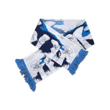 OEM Produce Customized Logo Printed White Cotton Football Scarf