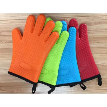Short Oven Silicone Rubber Gloves with Cotton liner