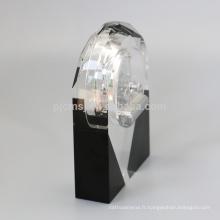 Sublimation de conception unique belle forme horloge de bureau en cristal