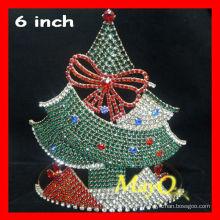 Hermosa corona de concurso de cristal de Navidad, corona de tiara de árbol de Navidad, tiara por encargo para la Navidad