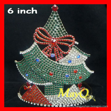 Прекрасная рождественская хрустальная корона для конкурсантов, корона из тиары из елки, выполненная на заказ тиара для рождества