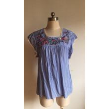 Sweet Short Sleeve of Stripe Printed Ladies Blouse