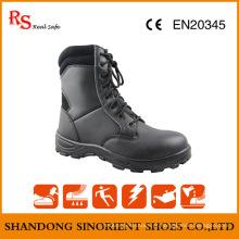 Black Action Leather Botas militares baratas Snf509