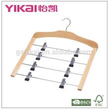 Многофункциональная компактная деревянная вешалка с 4-мя рядами металлических зажимов
