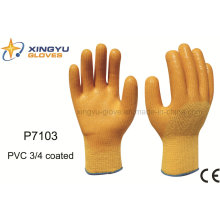 Polyester Shell PVC 3/4 Coated Safety Work Glove (P7103)