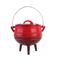 runder gusseiserner Potjie-Topf mit Dreibeinchen für im Freien zubereitete Gerichte