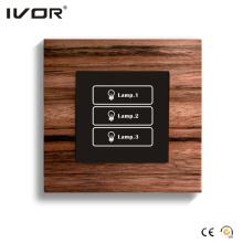 Panel táctil del interruptor de iluminación de 3 pandillas (HR1000-WD-L3)