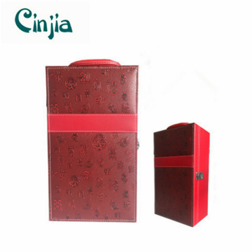 Double Red Leather Wine Box for Gift (XJ-709)