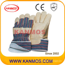 Yellow Pig Grain Leather Winter Industrial Safety Work Gloves with Jersey (22301)