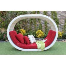Poly Rattan O Shape Daybed ou Sunbed avec arc en haut pour Outdoor Garden Beach Resort Pool
