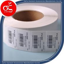 Autocollant de label de vêtement en gros Autocollant de label de soins de lavage blanc