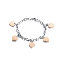 High quality heart charm titanium steel ankle bracelet,bulk jewelry chain ankle bracelet