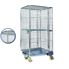 Warehouse Rolling Metal Steel Wire Mesh Storage Cage