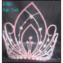 Art und Weise große feststehende Kronen kundengebundene Kronen große Rhinestone rosafarbene Rhinestones-Tiara