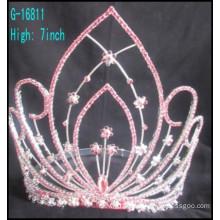 Fashion large pageant crowns customized crowns large rhinestone Pink rhinestones tiara
