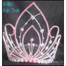 Модные большие костыли с короной подгонянные короны большой горный хрусталь Розовые стразы тиары