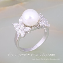 white freshwater silver pearl accessories ring designs fashion accessory Rhodium plated jewelry is your good pick