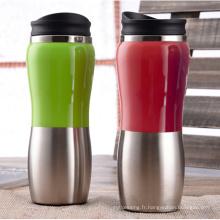 Tasse à café en acier inoxydable à double paroi avec couvercle