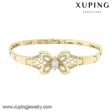 74584 Fashion élégant papillon zircon bijoux bracelet en couleur or 14k