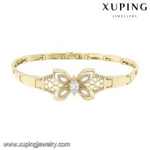 74584 moda elegante borboleta cubic zirconia jóias pulseira em ouro 14k cor