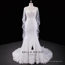 Spitze zurück elegantes Meerjungfrau-Hochzeitskleid mit watteau Zug
