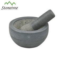 Mortier et pilon de granit noir pour broyeur d'herbes