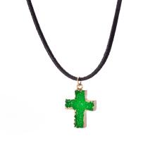 Fashion Crystal Glass Cross Pendant Women Necklace Cross Pendant Necklace