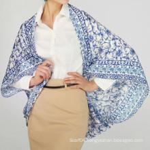 Ladies 100% silk charmuse 110x110 printing square scarf