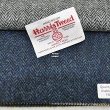 Authorized Hand Woven Harris Tweed Navy Herringbone Fabric in Stock