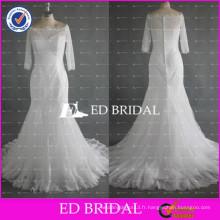 ED Bridal Elegant Bateau Neck moitié manches Mermaid Lace White Button Retour Robes de mariée en Chine