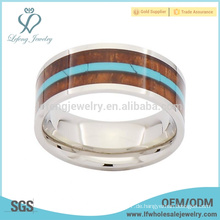 Fashion silbernes Band mit Holz und türkisfarbenen Einlage Titan Hochzeit Ringe