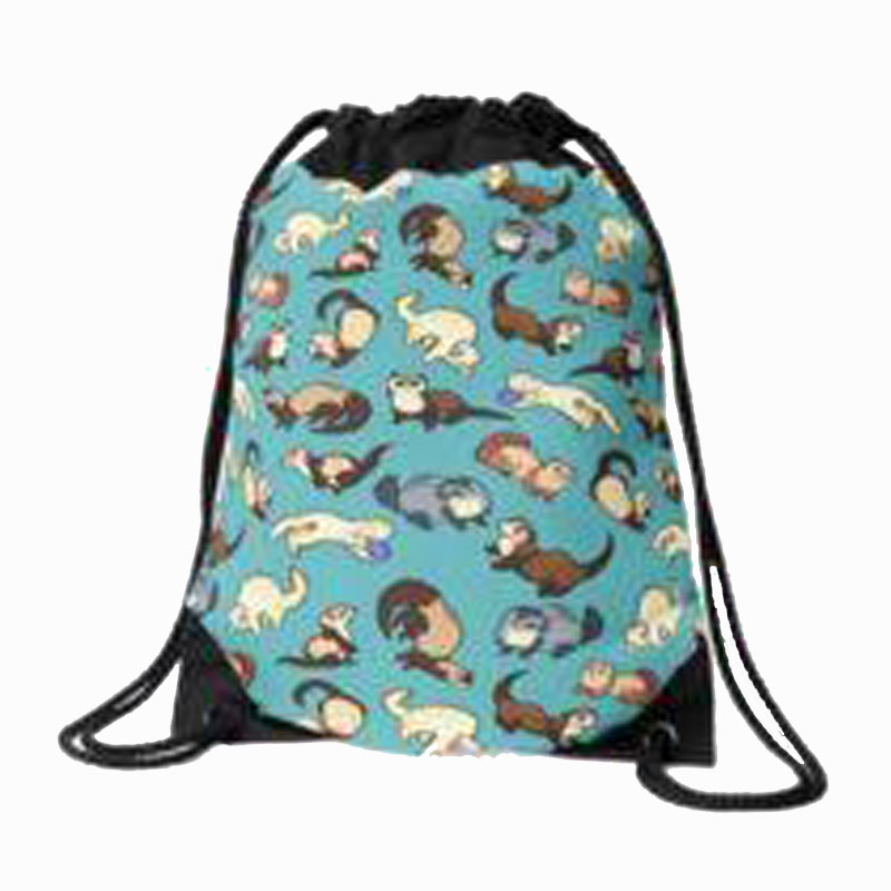 Cat Snakes In Blue Drawstring Bag