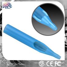Flat Round Diamond Conseils de tatouage transparent Disposable Short Clear Blue, stérile jetable Machine de tatouage Conseils pour buses Tubes à aiguilles