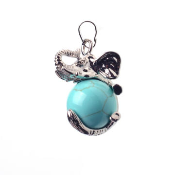 Gemstone Turquoise Ball Alloy Elephant Pendant Necklace